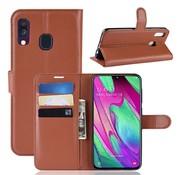 GSMWise Samsung Galaxy A40 Hoesje - Wallet Case - Bruin