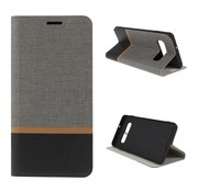 GSMWise Samsung Galaxy S10 Plus Hoesje - Denim Book Case - Grijs