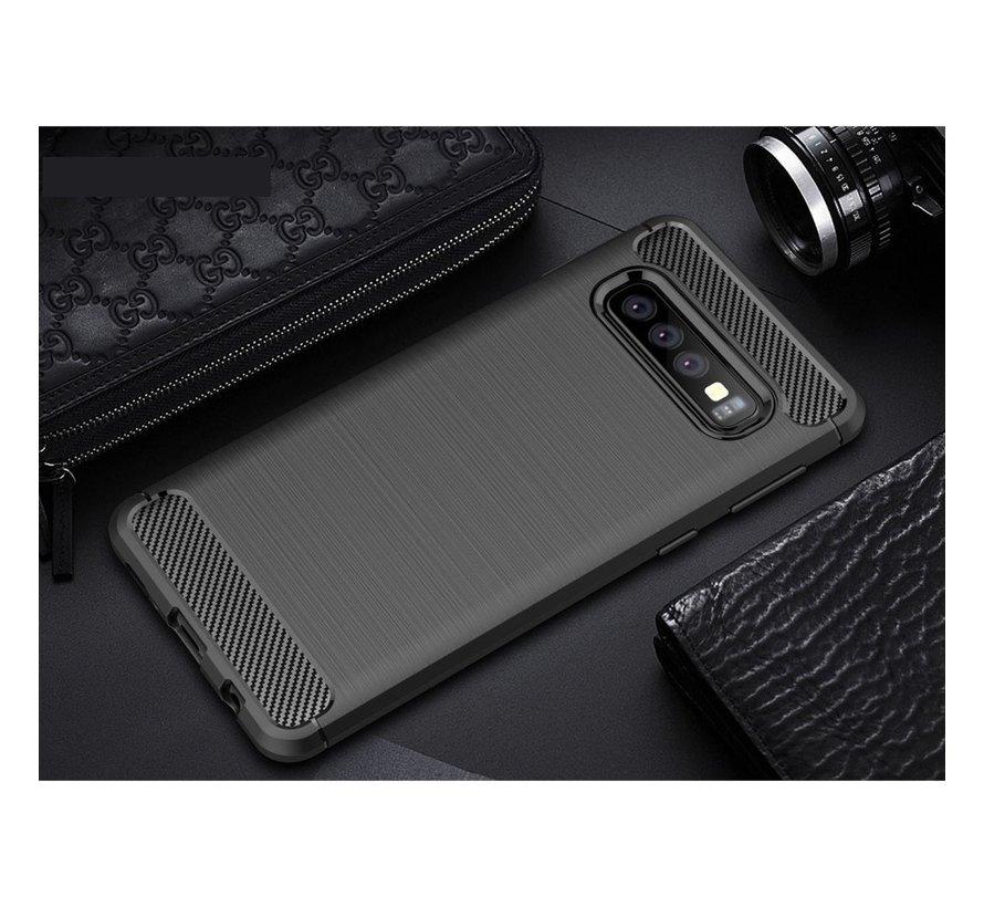Samsung Galaxy S10 Hoesje - Carbon Fiber Design Back Case - Zwart