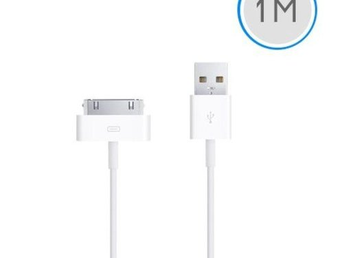 Apple 1 meter 30-pins USB oplaad data kabel voor Apple iPhone 3GS/4/4S iPad 1/2/3 en iPod - wit
