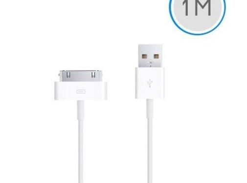 Apple 1 meter 30-pins USB oplaad data kabel voor Apple iPhone 3GS/4/4S iPad 1/2/3 en iPod - wit