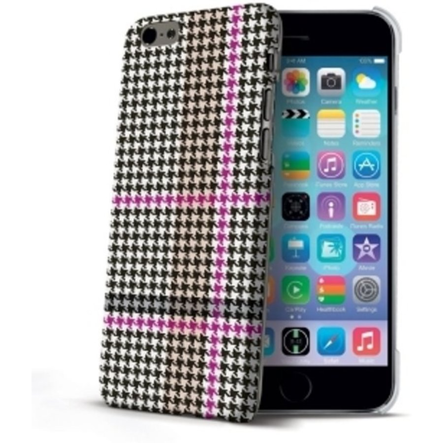 Celly - Pied de Poule design hardcase iPhone 6 / 6s - Magenta