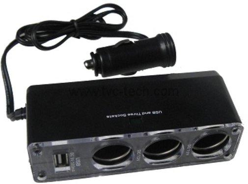 GSMWise GSMWise - USB Autolader met 3 Sigaretten Punten - Zwart