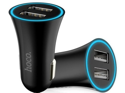 GSMWise Hoco - Autolader met 2 USB Poorten - Zwart