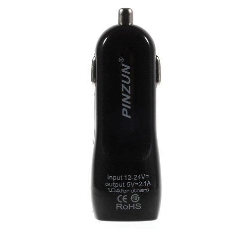 GSMWise Pinzun - Autolader met 2 USB Poorten - Zwart