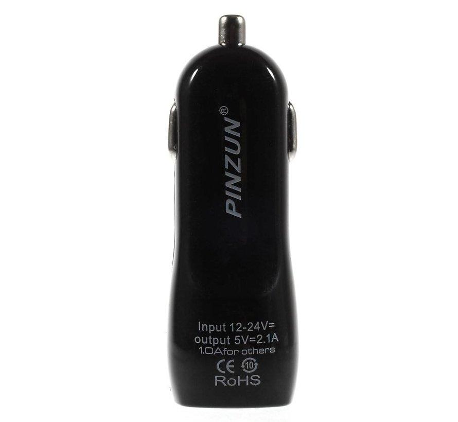 Pinzun - Autolader met 2 USB Poorten - Zwart
