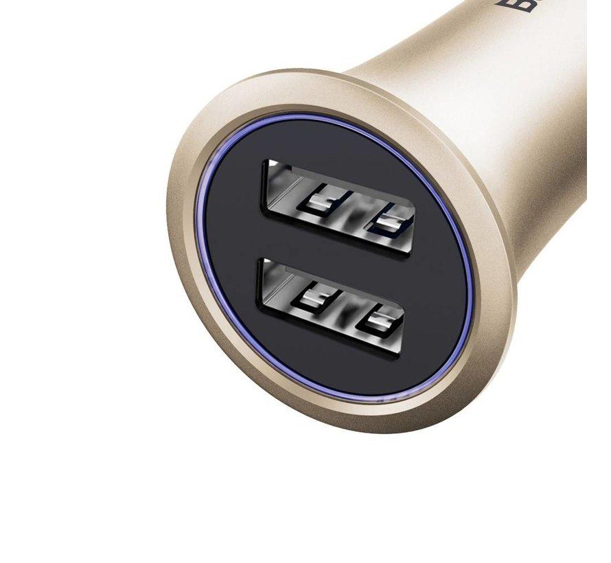 Baseus - Autolader met 2 USB Poorten - Goud
