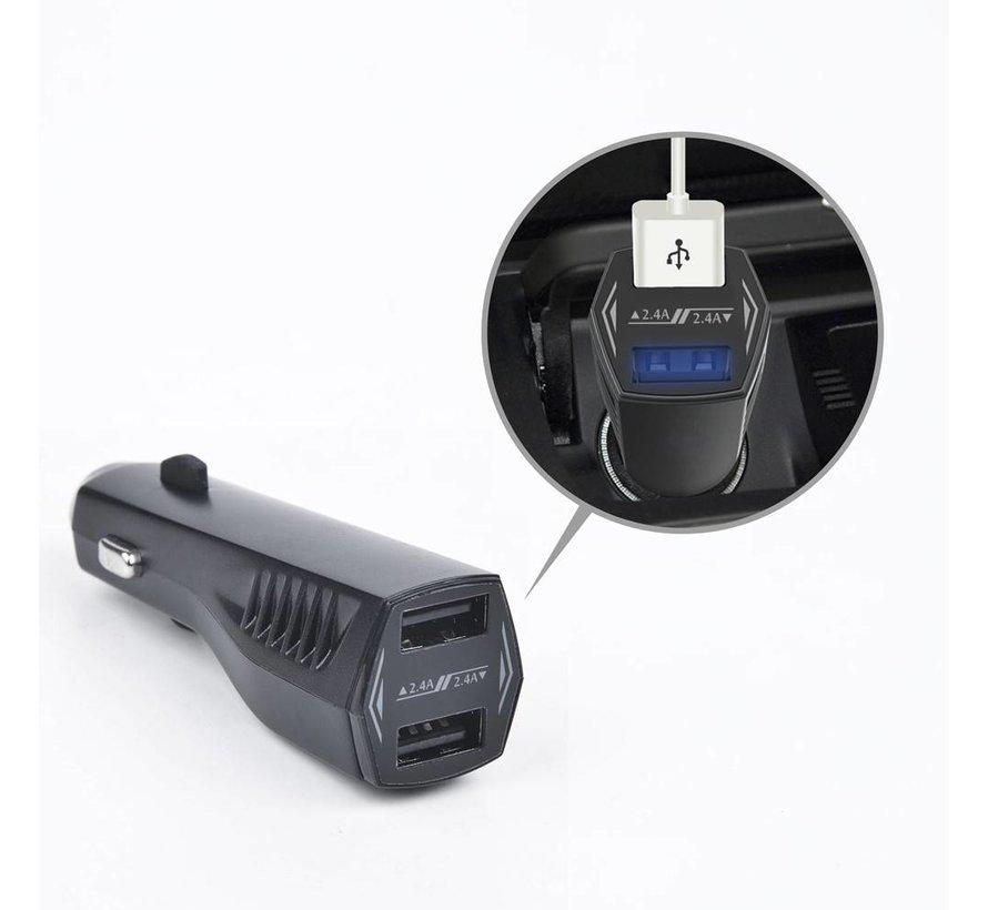Remax - Autolader 2 USB Poorten - Zwart