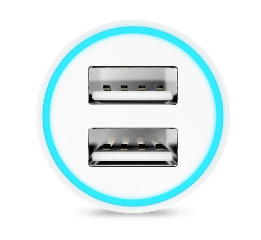Hoco - Autolader met 2 USB Poorten - Wit