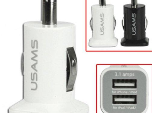 GSMWise Usams - Autolader met 2 USB Ingangen - Wit