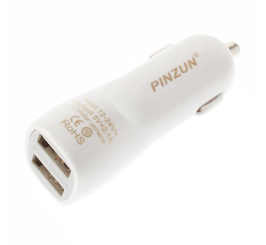 Pinzun - Autolader met 2 USB Poorten - Wit