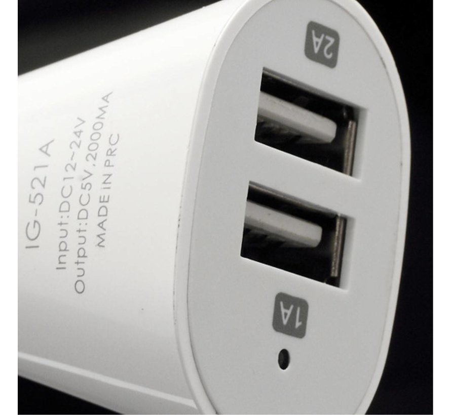 GSMWise - Autolader met Dubbele USB Poorten - Wit