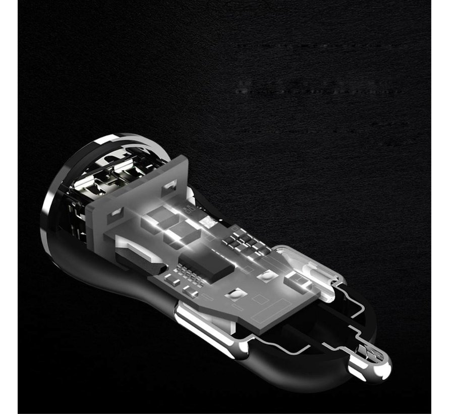 Usams - Autolader dubbele USB ingang - Zwart