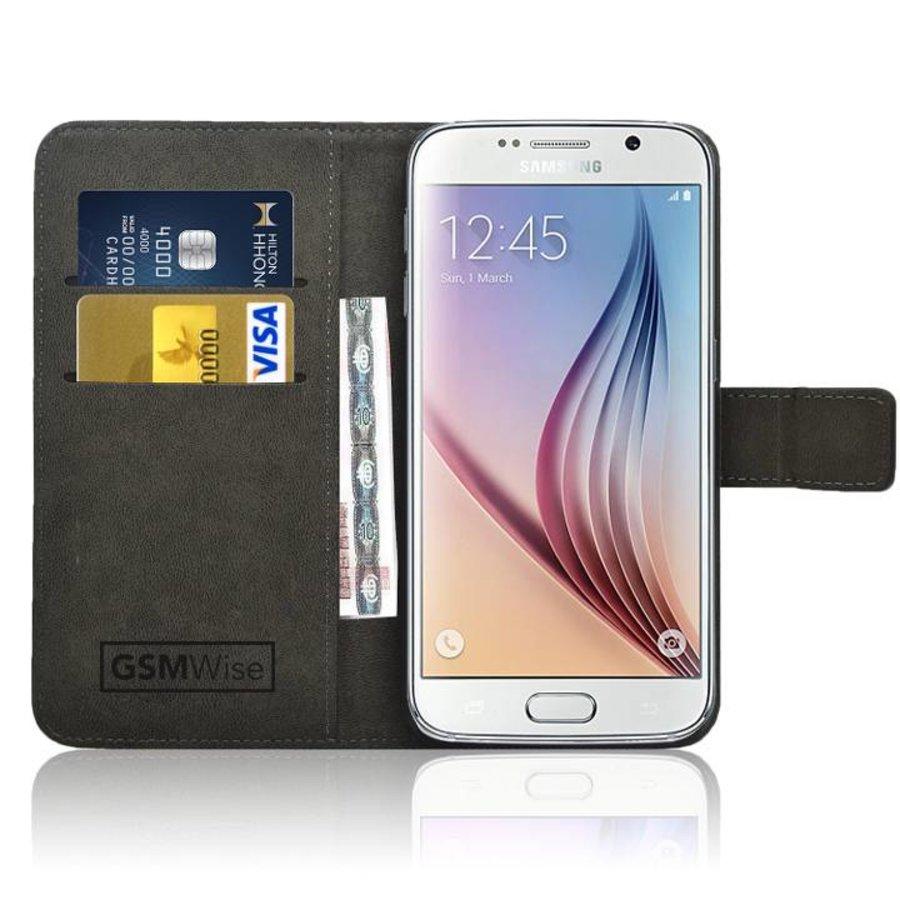 182e060d493 Zwart PU lederen Portemonnee hoesje voor de Samsung Galaxy S6 Wallet Case