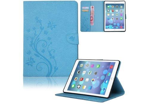 Blauw Creatieve Tablet Hoes met Bloemen Design iPad Air 2 (iPad 6)