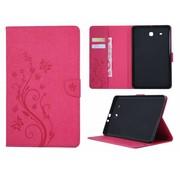 GSMWise Roze Creatieve Tablet Hoes met Bloemen Design Galaxy Tab E 9.6