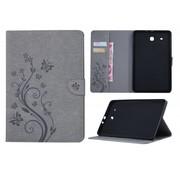 GSMWise Grijs Creatieve Tablet Hoes met Bloemen Design Galaxy Tab E 9.6