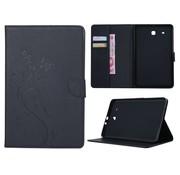 GSMWise Zwart Creatieve Tablet Hoes met Bloemen Design Galaxy Tab E 9.6