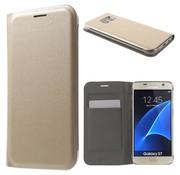 GSMWise Samsung Galaxy S7 Hoesje Cover Book Case Lychee met kaarthouder - Goud