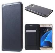 GSMWise Samsung Galaxy S7 Hoesje Cover Book Case Lychee met kaarthouder - Blauw