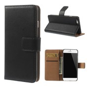 GSMWise Zwart Genuine Split Leather Wallet Stand Case Shell voor iPhone 6s / 6 4.7 inch