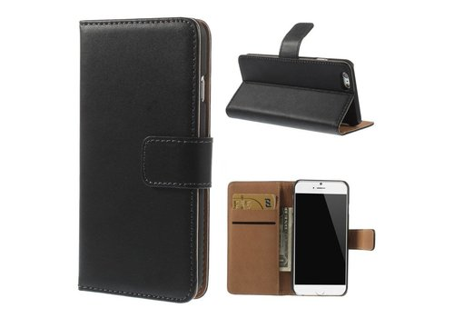 Zwart Genuine Split Leather Wallet Stand Case Shell voor iPhone 6s / 6 4.7 inch