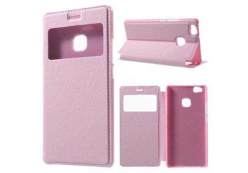Huawei P9 Lite / G9 Lite View Window Leather Flip Case - Roze