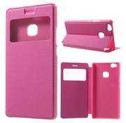 GSMWise Huawei P9 Lite / G9 Lite View Window Leather Flip Case - Hot Pink / Magenta