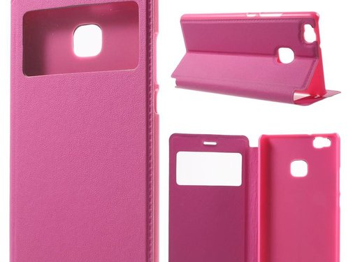 GSMWise Huawei P9 Lite / G9 Lite View Window Leather Flip Case - Hot Pink / Magenta