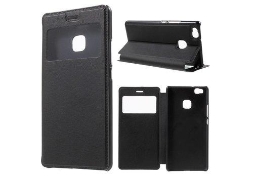 Huawei P9 Lite / G9 Lite View Window Leather Flip Case - Zwart