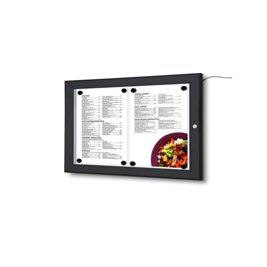 Menuvitrine zwart LED verlicht binnen/buiten 2xA4P