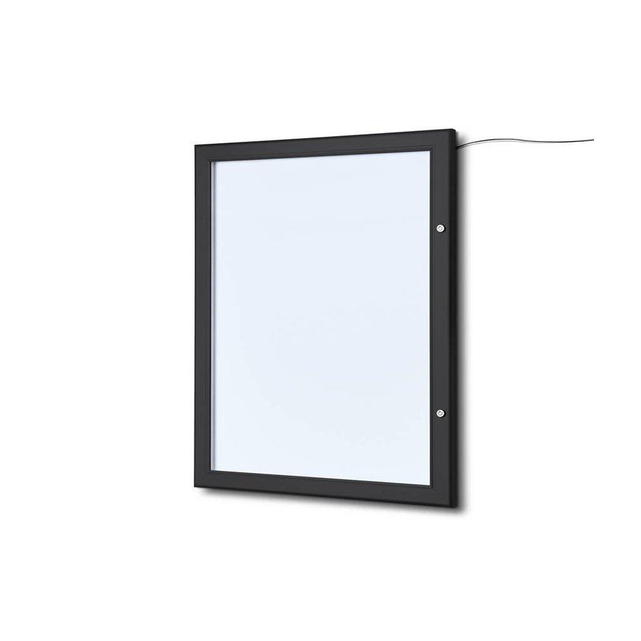 Menuvitrine zwart LED verlicht binnen/buiten 4xA4P