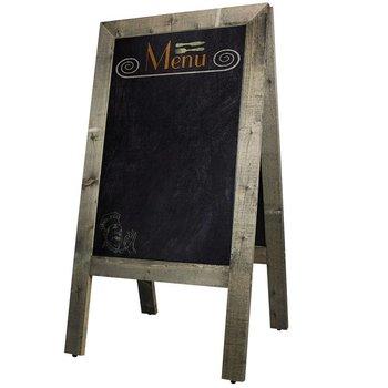 Krijtstoepbord hout oud grijs 75x135cm