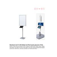 Standaard met A1 LED kliklijst met IPad houder grijs (excl. IPad)