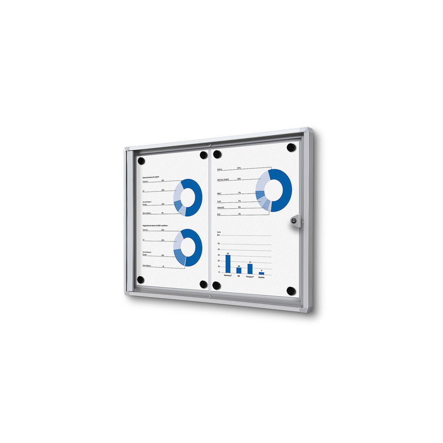 Afsluitbare presentatiekast 2xA4 binnen Aluminium