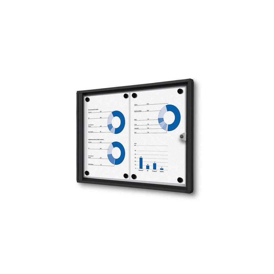 Afsluitbare presentatiekast 2xA4 Zwart binnen gebruik