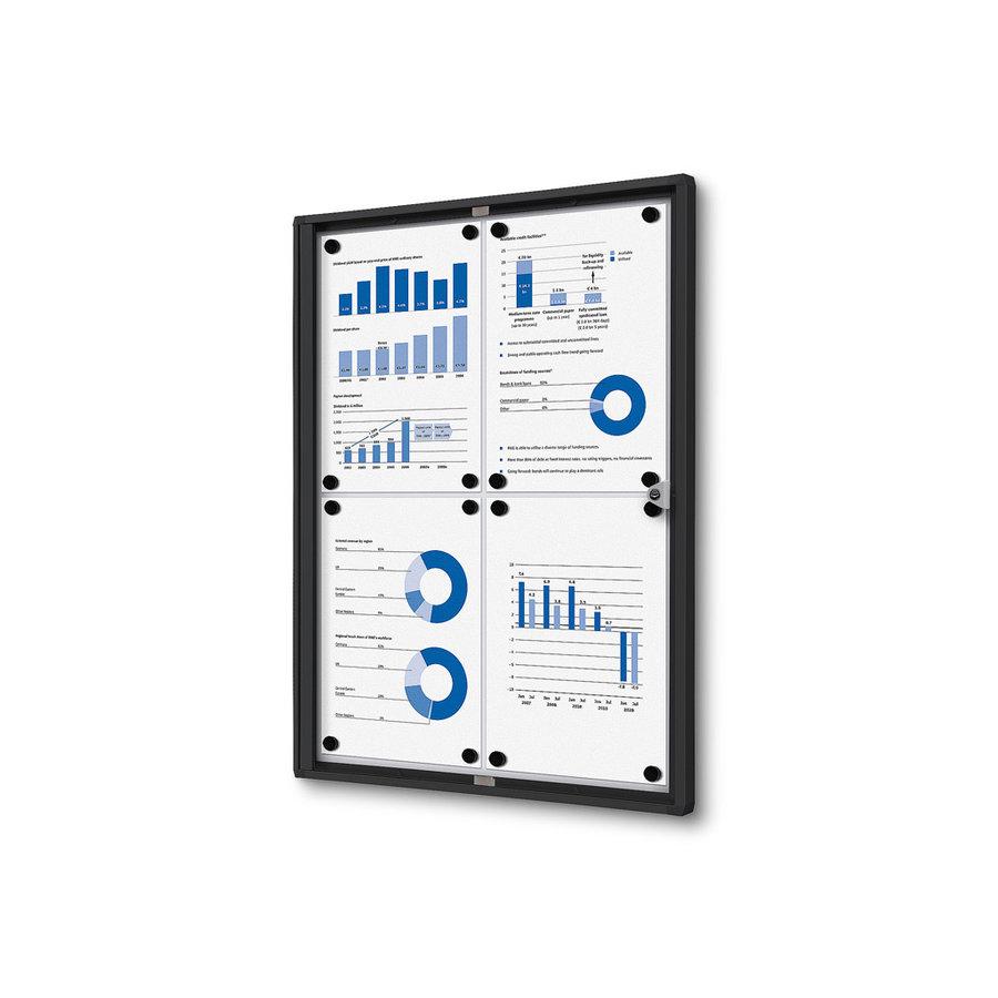 Afsluitbare presentatiekast 4xA4 Zwart binnen gebruik