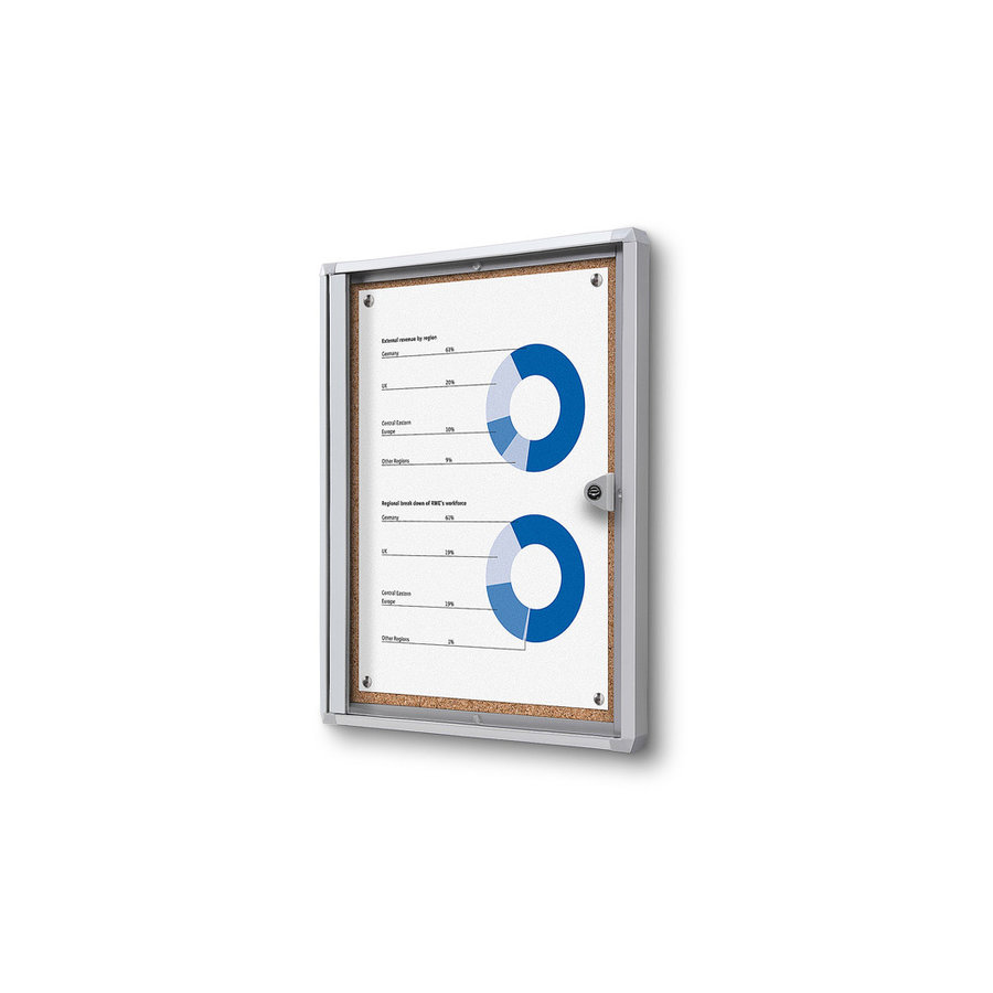 Memo vitrine A4 met kurkbord binnen gebruik