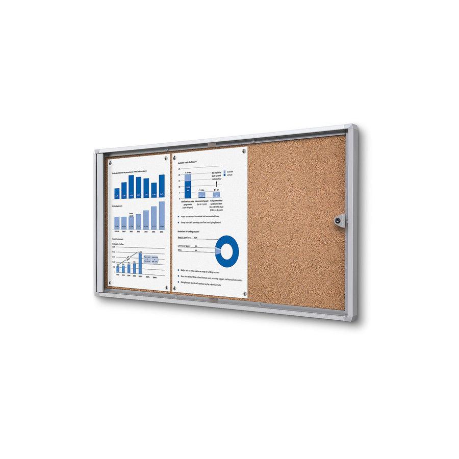 Memo vitrine 3xA4 met kurkbord binnen gebruik