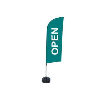Beachflag OPEN groen