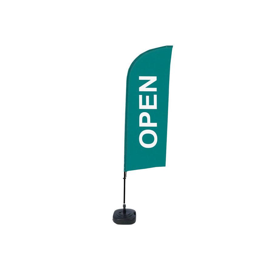 Beachflag OPEN groen complete set