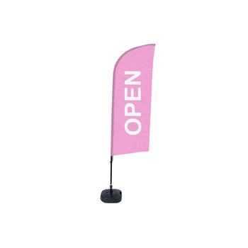 Beachflag OPEN roze