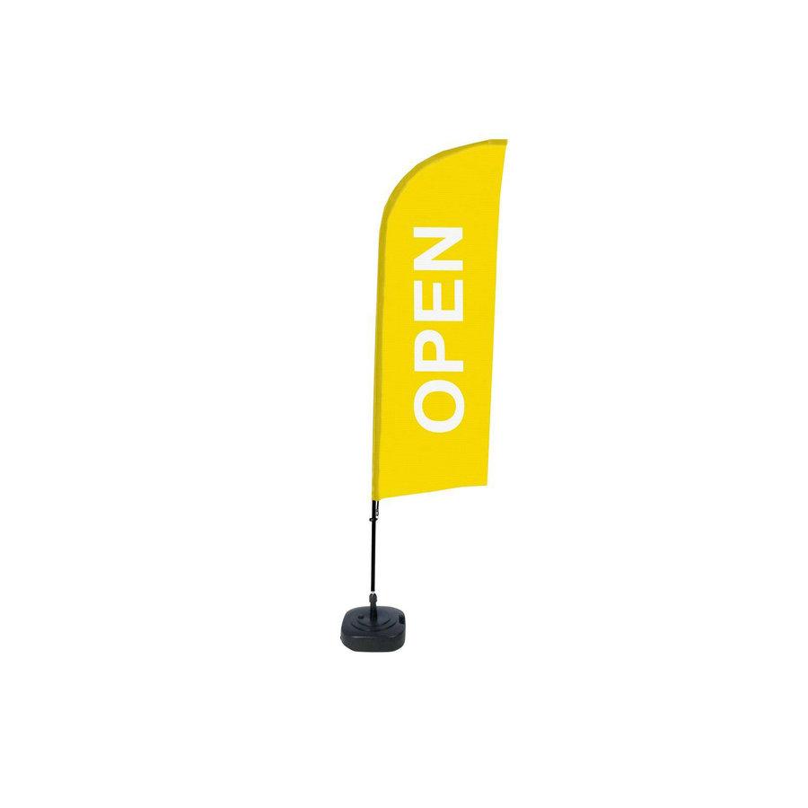 Beachflag OPEN geel complete set