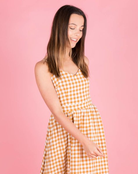 GINGHAM ORANGE TIE DRESS