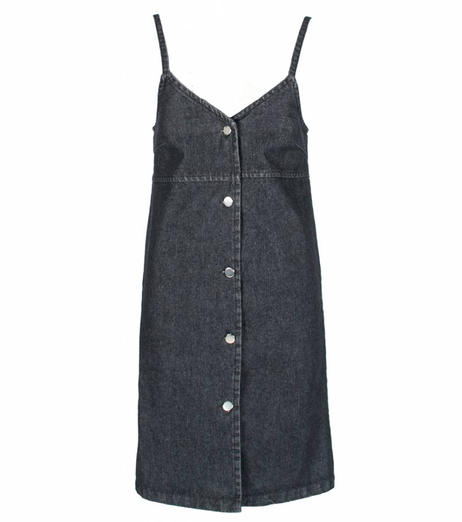 BOLD BLACK DUNGAREE DRESS
