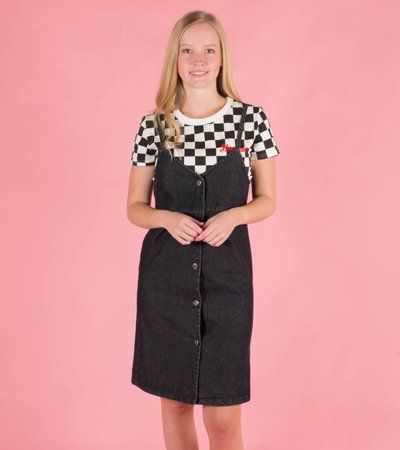BOLD BLACK DUNGAREE DRESS