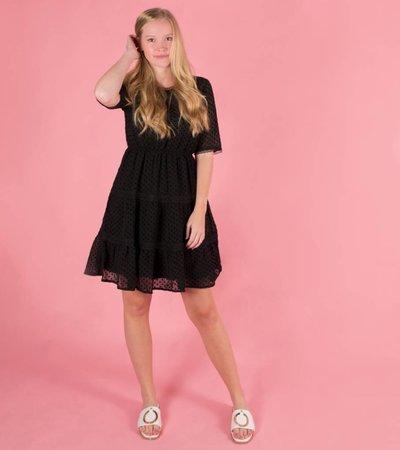 DOTS AND LACE AFFAIR BLACK DRESS
