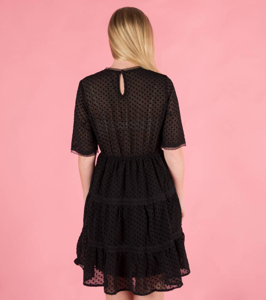 DOTS AND LACE AFFAIR BLACK DRESS