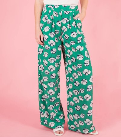 GREEN FLOWERED TROUSERS