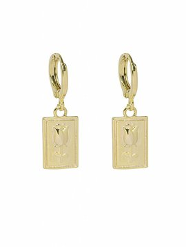 GOLD SQUARE ROSE EARRINGS